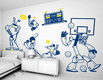 sporty robots :: children's wall decals