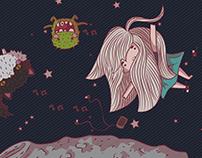 """ilustración """"En la luna"""""""