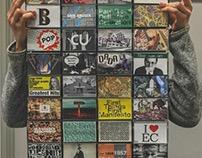Design history in cassette tape art.