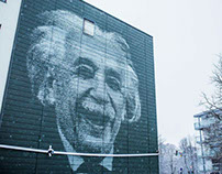 100 ft2 mural of Albert Einstein (with making-of video)