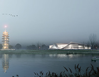 Museum in fog and at sunset