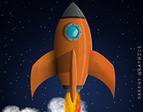 FLY ME TO THE MOON | Rocket Illustration