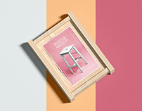 Wooden Frame With Poster Mockup Free
