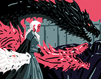Daenerys and her dragons - game of thrones