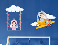 Girl and boy bunny puppet wall stickers