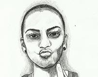 Selfie Portrait Drawing
