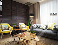 Modern interior design for a living room