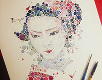 Dotted watercolour geisha
