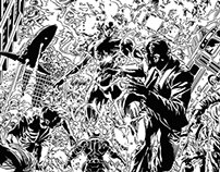Digital inking over Mike Deodato's pencils