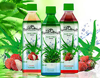 Basil Seed and Aloe Drinks packaging and advertisment