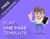 Flat One Page Template PSD