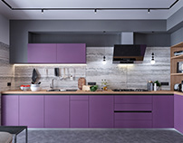 In violet mood: design project of a two-level apartment