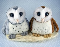 Barn Owls, soft art toys