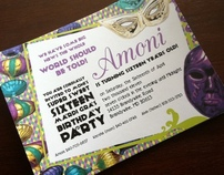 Mardi gras themed sweet sixteen invite