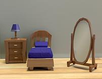 Low poly bedroom set