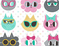 Pretty Kitties Pattern with coordinating prints