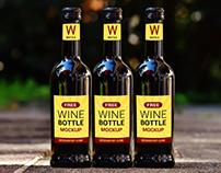 Free Wine Bottle Mockup PSD