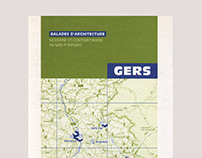 Editorial design of an architecture walk guide in Gers
