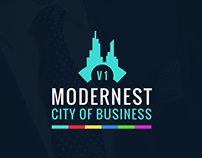 Modern city of business pitch deck powerpoint template