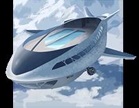 Futuristic Airship- Ilustration