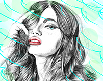 Sketch girl on pen and retouch photoshop