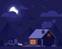 Night House Landscape