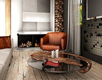 Interior design of a large wooden house