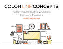 Set Of Flat Line ColorHeaders