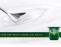 Danone Activia product close-ups. Creamy Stirred White