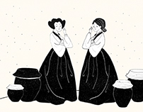 ᴇʟᴇɢᴀɴᴛ ᴋᴏʀᴇᴀɴ ᴡᴏᴍᴀɴ ᴡɪᴛʜ ᴋɪᴍᴄʜɪ. |Illustration