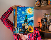 """UN FERNET BAJO LA NOCHE ESTRELLADA"" oil/canvas 20x30cm"