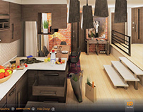 Kitchen and dining 3d design and visualizing .
