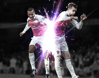 Theo Walcott and Per Mertesacker Arsenal Photo Edit