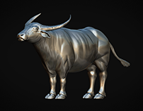 WATER BUFFALO HIGH POLY