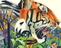 Tiger in it's natural habitat