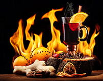 Mulled wine.Hot drinks.Hygge