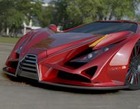 Exona supercar realistic rendering project