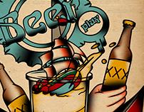 Beer Play Bar T-Shirt Old School Tattoo Design