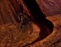 Split Redwood Coffee Table with Steel Base