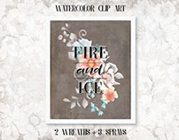 """Fire and ice"": coral and turquoise floral clip art"