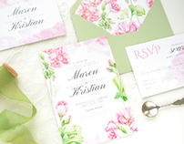 Geranium - watercolor wedding suite and pattern