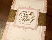 Katie & Andy Gold Glitter Wedding Invitations