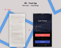 iOS - Travel App with Wireframes & Visual Design