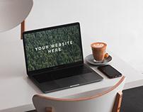 Free MacBook on Table Mockup