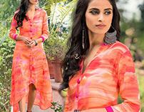Designer 3/4th sleeves Multicolor Party Wear Kurtis