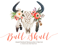Watercolor bull skull set