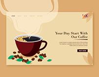 Coffee shop Landing page design Illustration