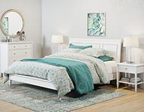3D Model - Pottery Barn - Crosby Bedroom set white
