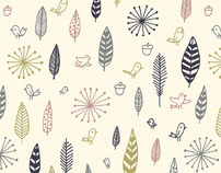 Birds and Feathers fabric design