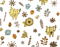 Woodsy Friends fabric design